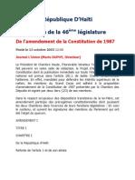 L'Amendement (avorté et annulé)  de la Constitution de 1987 en 2003 sous la Présidence de Jean-Bertrand Aristide