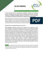 Comunicado de Prensa Esu Chile