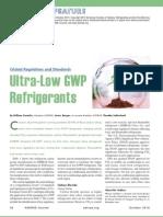 Ultra-Low GWP Refrigerants