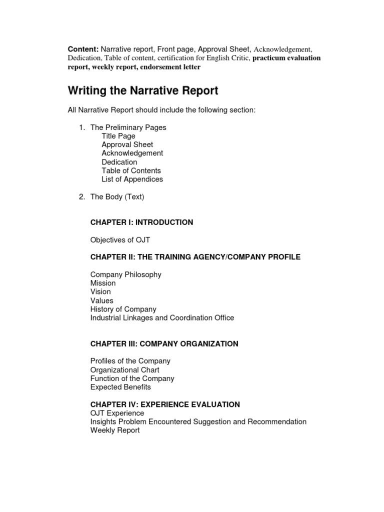 Narrative Report Letter Case Science