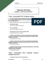 Resumen prensa CEU-UCH 12-06-2012