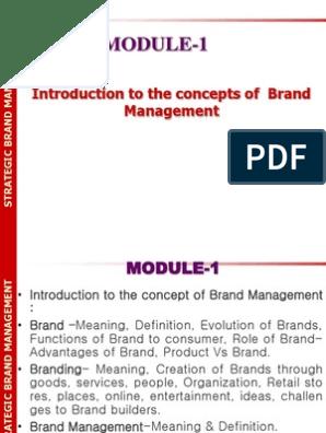 Sbm Mod 1 Brand Management Brand