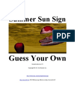 Summer Sun Sign - Guess Your Own - Zodiacal Offsets for Summer 2012