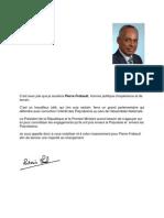 Lettre de soutien du Ministre de l'Outre mer à M. Pierre FREBAULT