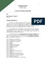 Syllabus Crimininal Procedure (s.y. 2008- 2009)