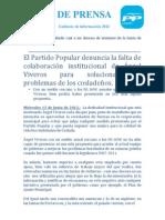 El Partido Popular denuncia la falta de colaboración institucional de Ángel Viveros para solucionar los problemas de los cosladeños.