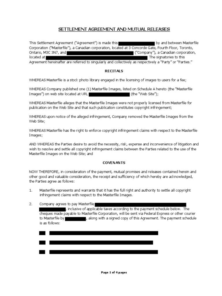 Masterfile Settlement Release Agreement Copyright Infringement