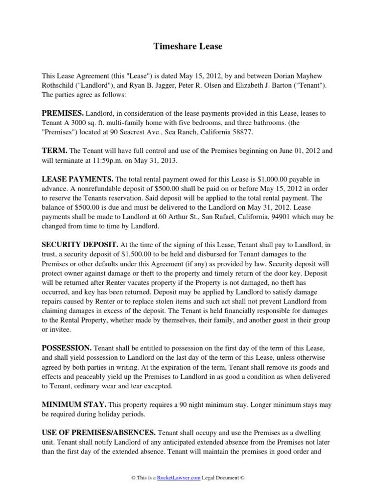 Timeshare Lease Lease Leasehold Estate