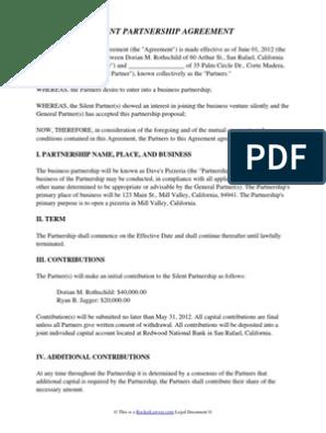 Silent Partnership Agreement General Partnership Partnership
