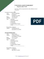 Sale of Business Assets Worksheet