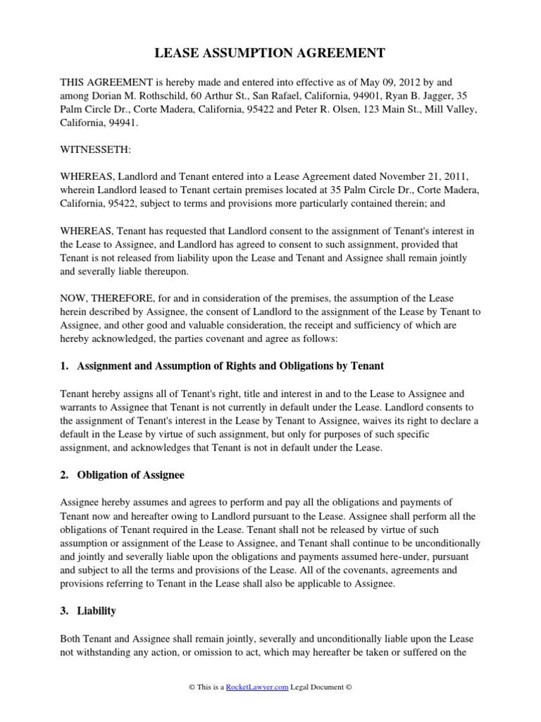 Lease Assumption Agreement Assignment Law Lease