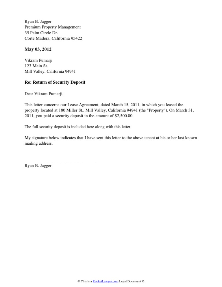 Security deposit return letter thecheapjerseys Images