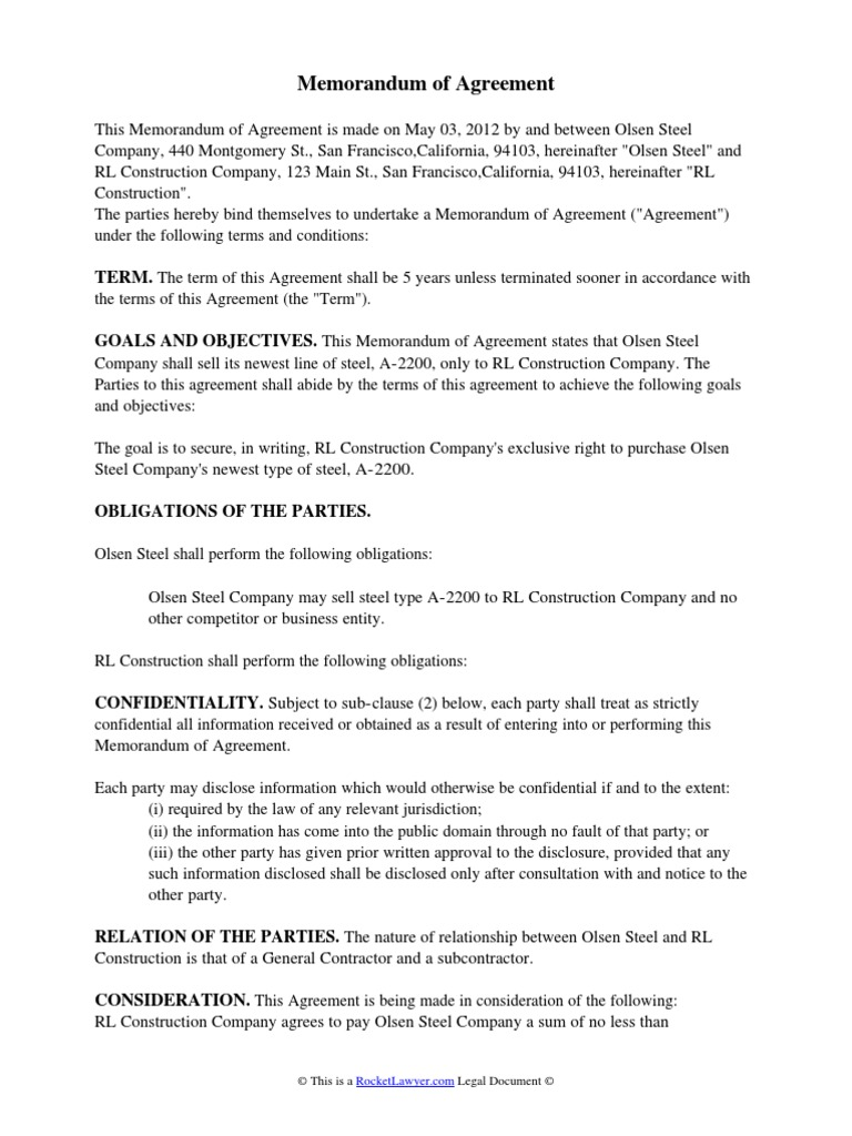 Memorandum Of Agreement Breach Of Contract Business Law