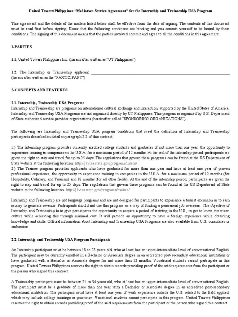 Editable United Towers Philippines Internship Traineeship Terms