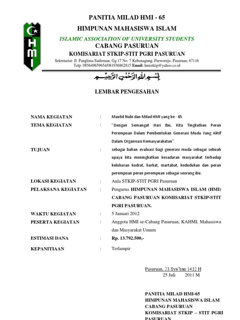 Contoh Surat Aktif Organisasi Hmi