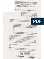 AUTÓGRAFO APROVADO- CÂMARA DE GUAREÍ- LEI COMP.09 DE 29/05/2012 - 1ª PG