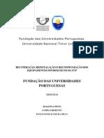 Recuperacao e Reconfiguracao Do Sistema Informatico Da Fundacao Das Universidades Portuguesas Fundacao Das Universidades Portuguesas