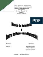 Manejo de materiales y control del proceso de elaboración