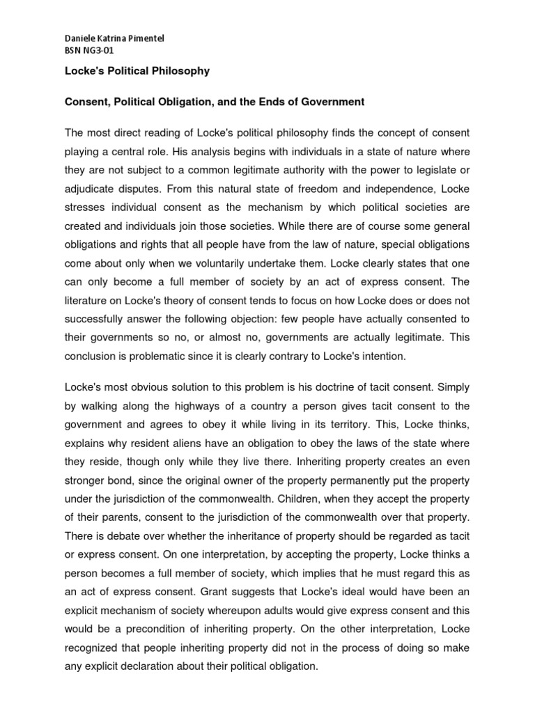consent theory of political obligation essay A utilitarian account of political obligation by brian collins a thesis submitted in partial fulfillment 223 adaptations to the consent theory.