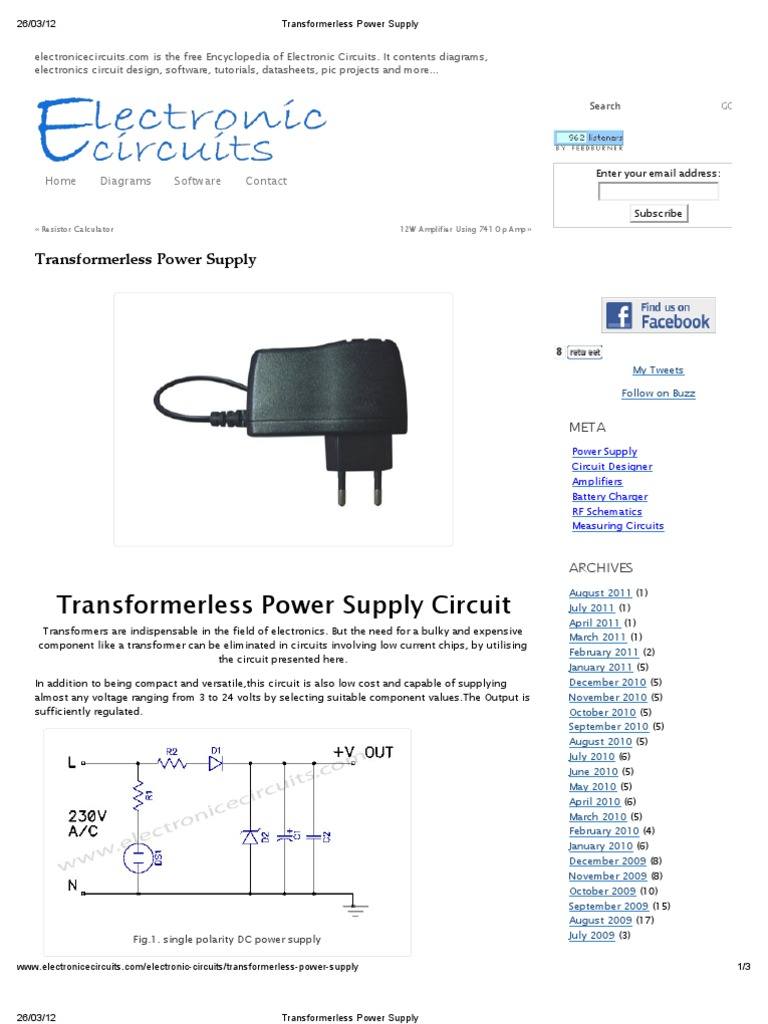 Transformerless Power Supply Electronic Circuits Free Electronics Diagrams Projects