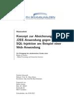 Konzept zur Absicherung einerJ2EE-Anwendung gegenSQL-Injektion am Beispiel einerWeb-Anwendung