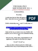 An Essay for Mara Piln Scholarship Interview 2011