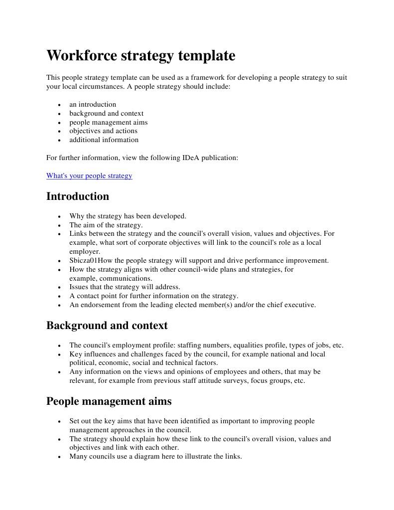 Workforce Strategy Template Performance Indicator Strategic