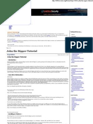 John the Ripper Tutorial -     | Password | Computer File