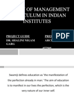 A Study of Management Curriculum in Indian Institutes