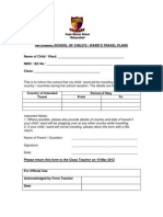 Travel Declaration Form for Student March 2012