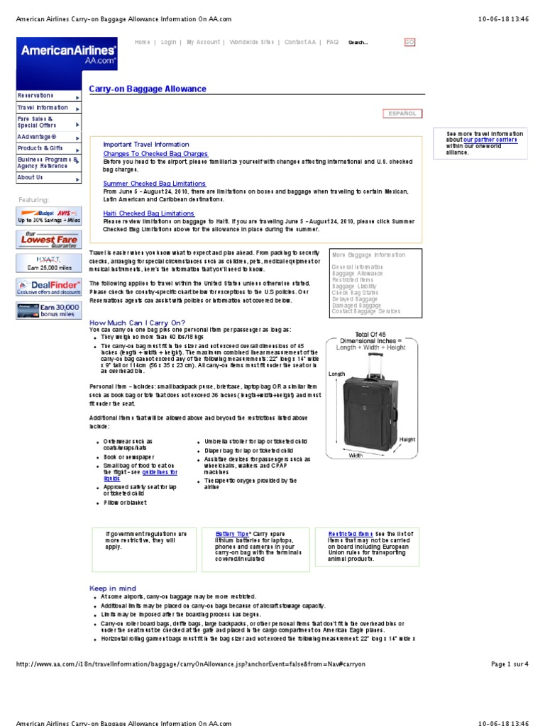American Airlines Carry On Baggage Allowance Information