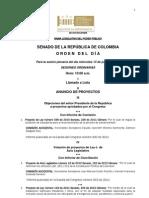 Plenaria Senado - Orden del día - 13 de junio de 2012