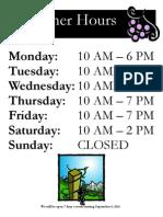 Summer Hours 2012