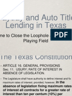Payday and Auto Title Lending in Texas