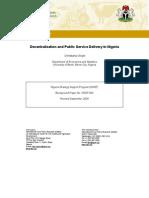 Decentralisation & Public Service Delivery in Nigeria