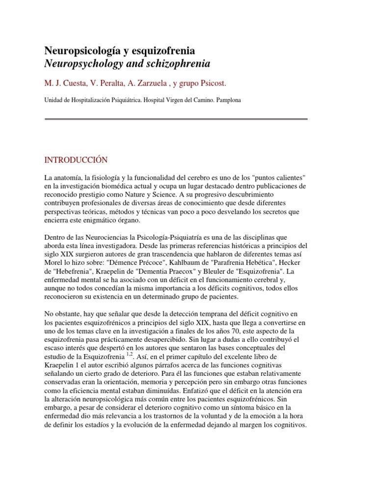 Articulo Neuropsicología y esquizofrenia