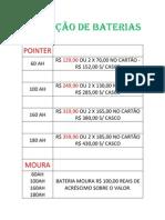TABELA DE PREÇOS DE BATERIAS