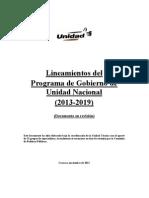 MUD. 2011. Lineamientos Del Programa de Gobierno de Unidad Nacional. Noviembre