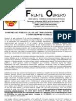 Comunicado de La USO a La Clase Trabajadora de Puerto Gaitan.