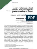 contamination des sols et de nos aliments d'origine végétale par les éléments en traces