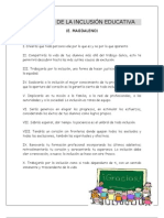 DECÁLAGO DE LA INCLUSIÓN EDUCATIVA