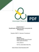 Relatório_Exp1_Amplificador diferencial sobre uma ponte de Wheatstone_Sensores e Transdutores_Trim3.3