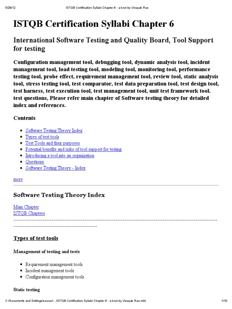 Istqb certification syllabi chapter 6 a knol by vinayak rao istqb certification syllabi chapter 6 a knol by vinayak rao software testing unit testing 1betcityfo Image collections