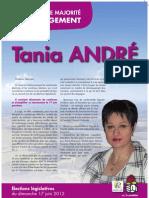Profession de foi de Tania André pour le 2e tour des élections législatives 2012