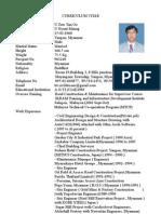 Curriculum Vitae (u Zaw Tun Oo )