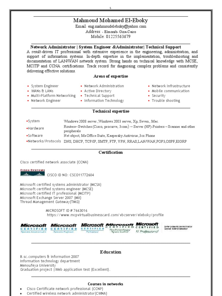 Eng Mahmoud Cisco Certifications System Administrator