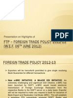 Foreign Trade Policy 2012-13 (Annual Supplement - 05.06.2012)