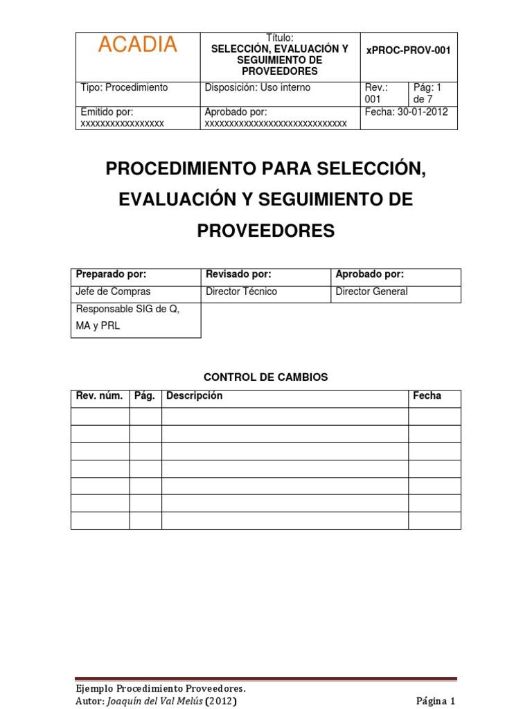 Procedimiento para selección, evaluación y seguimiento de ...