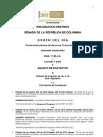 Plenaria Senado - Orden del día - 14 de junio de 2012