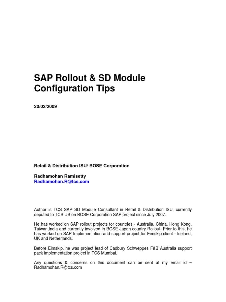SAP Rollout - SD Module Configuration | Business Process | Sap Se